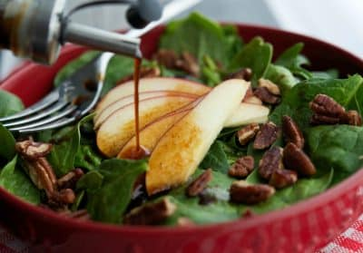 Spinach Salad with Apples & Pecans in an Apple Balsamic Vinaigrette-2