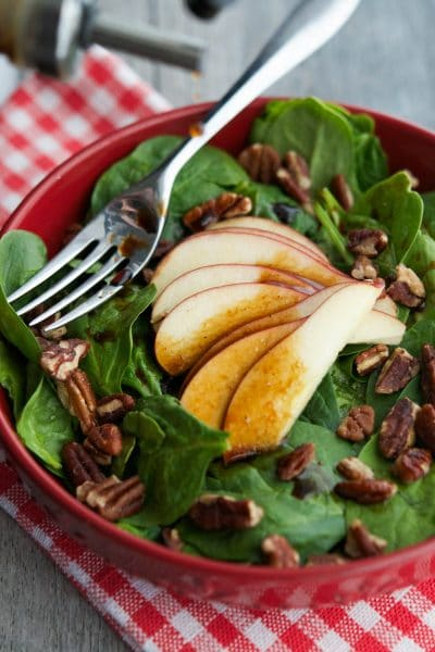 This deliciously flavorful Spinach Salad with Apples & Pecans in an Apple Balsamic Vinaigrette contains only five ingredients and takes about 10 minutes to make. Perfect for lunch or dinner!