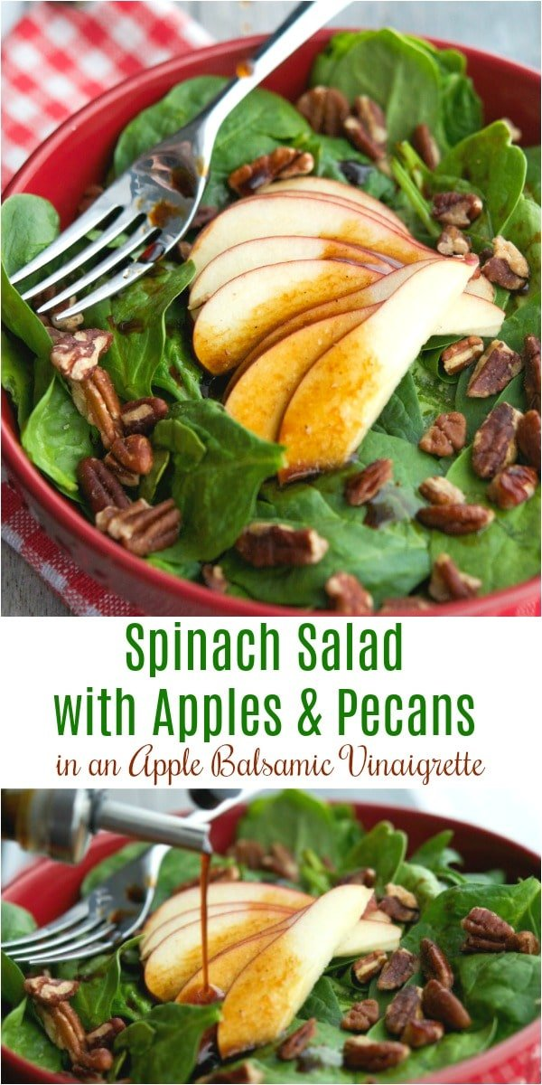 This deliciously flavorful Spinach Salad with Apples & Pecans in an Apple Balsamic Vinaigrette contains only five ingredients and takes about 10 minutes to make. Perfect for lunch or dinner! #salads #salad #spinach #apples #pecans