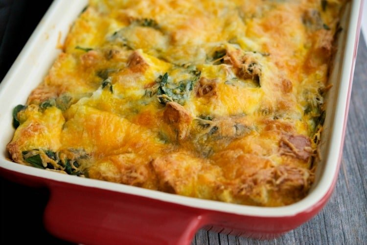 Spinach Artichoke Breakfast Strata -horizontal