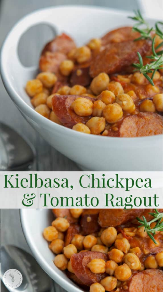This Kielbasa, Chickpea & Tomato Ragout is a hearty, all in one meal with a smokey flavor that your entire family will love.