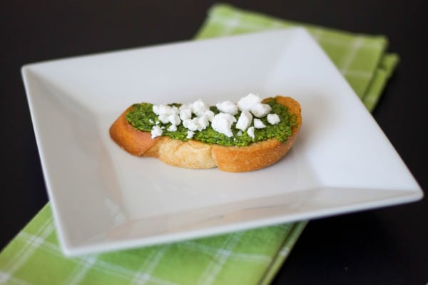 Pesto & Goat Cheese Crostini