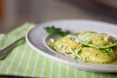 Ravioli with Spinach Pesto-closeup