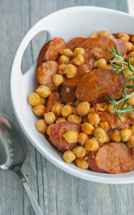 Slow Cooker Kielbasa Chickpea & Tomato Ragout