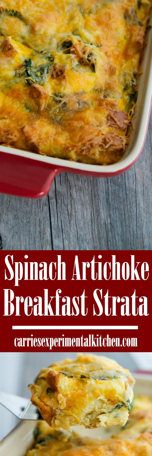 This savory Spinach Artichoke Breakfast Strata is wonderful.  It's so easy to prepare and fantastic when feeding a crowd for breakfast or brunch. #breakfast #brunch #eggs