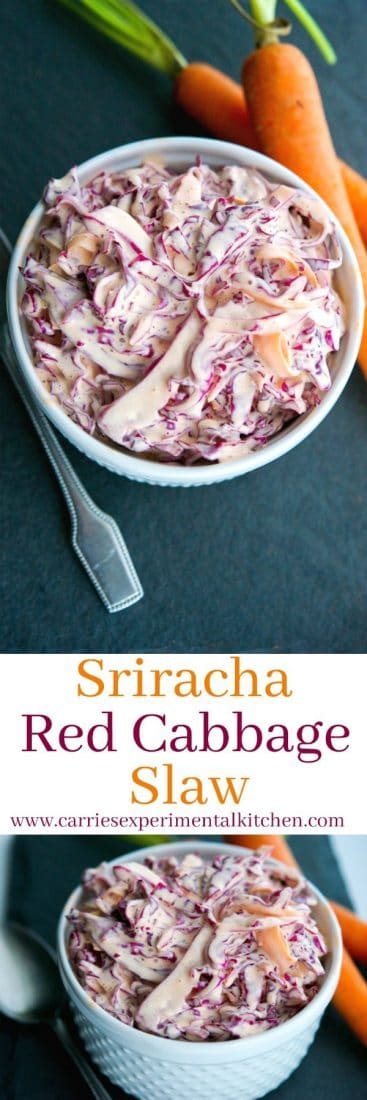This Sriracha Red Cabbage Slaw is deliciously creamy with a little bit of heat. The perfect addition to your summer salad rotation. #sriracha #hotsauce #salad #coleslaw #cabbage