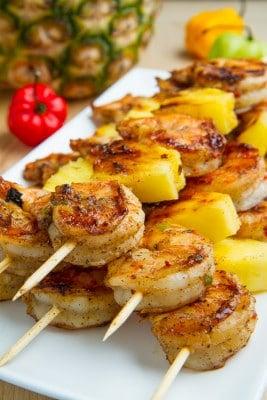 Grilled Jerk Shrimp and Pineapple Skewers 500w 7781