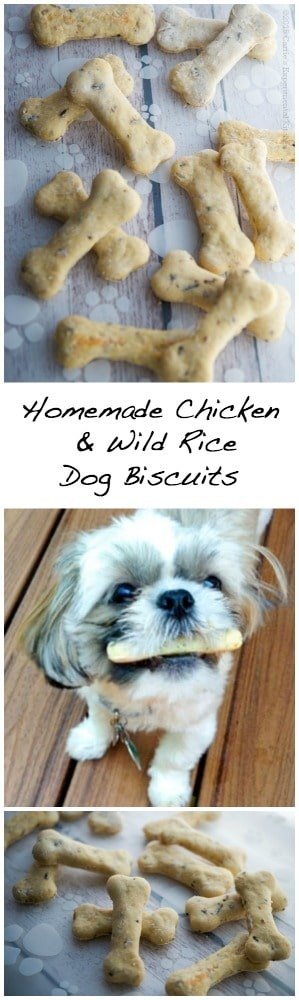 Dogs are part of the family too, so why not treat them to these special homemade Chicken & Wild Rice Dog Biscuits.