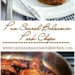 Pan Seared Balsamic Pork Chops Collage | CarriesExperimentalKitchen.com #pork