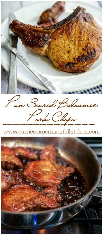Pan Seared Balsamic Pork Chops Collage | CarriesExperimentalKitchen.com #pork #glutenfree #paleo