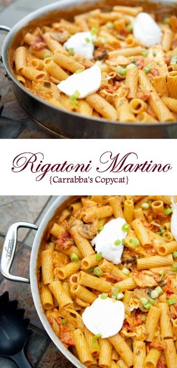 Rigatoni Martino (Carrabba's Copycat) made with rigatoni pasta, sun dried tomatoes, grilled chicken and mushrooms in a light tomato cream sauce topped with ricotta cheese.