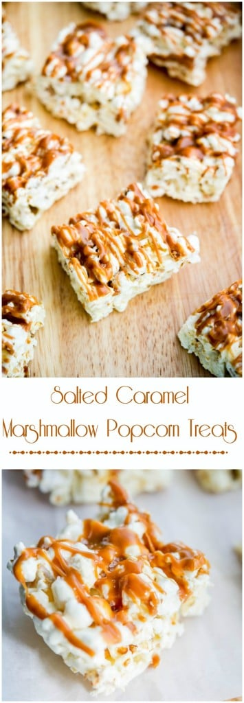 Salted Caramel Marshmallow Popcorn Treats #glutenfree