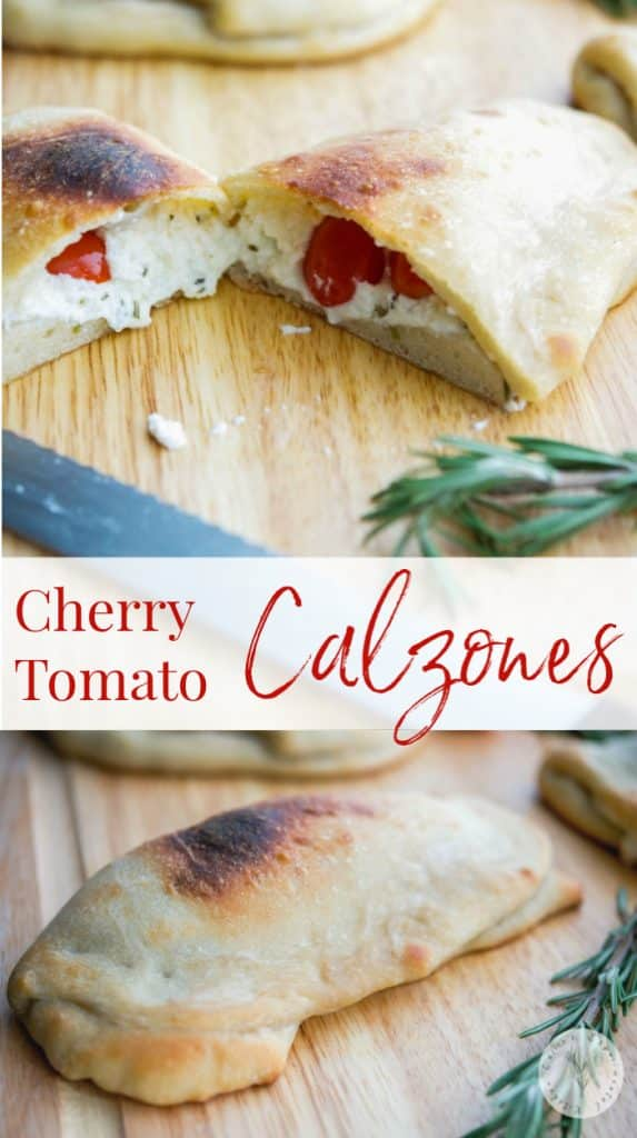 Cherry Tomato Calzones  made with fresh cherry tomatoes, Ricotta and Mozzarella cheese, fresh rosemary and garlic is a tasty, meatless weeknight meal.