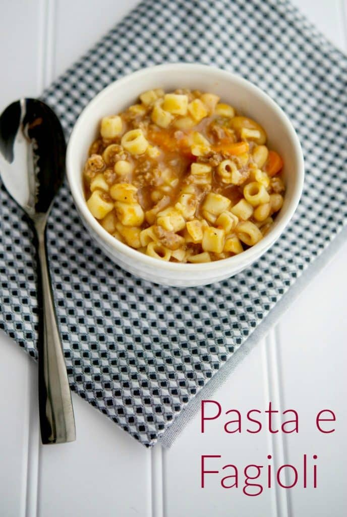 Pasta e Fagioli - This classic pasta and bean Italian soup is loaded with flavor and with the added ground beef, it makes for a satisfying meal.