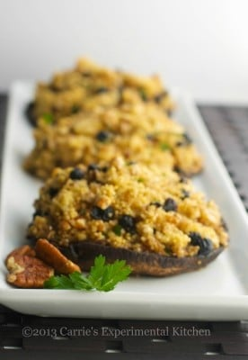 Blueberry, Pecan & Goat Cheese Quinoa Stuffed Portobello Mushroom Caps