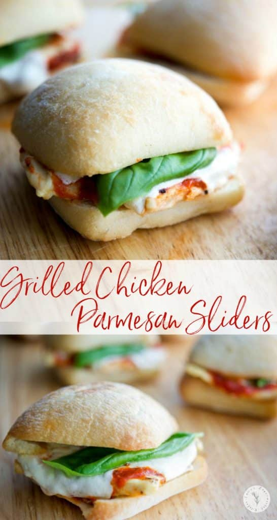 These Grilled Chicken Parmesan Sliders take only 20 minutes to make and are much healthier than the classic sandwich. Great for parties too!