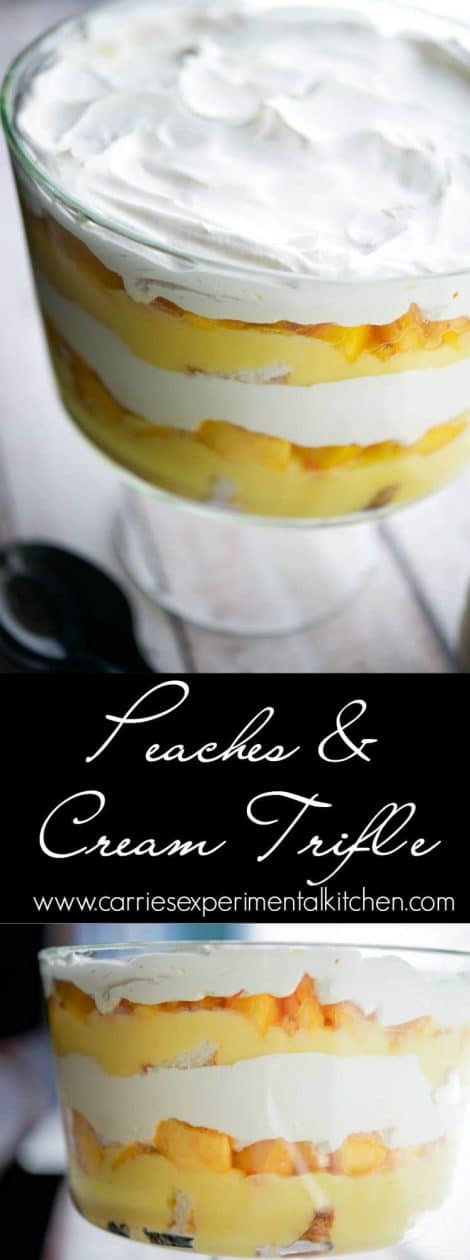 Are youlooking for a quick, delicious, no bake dessert? Then this Peaches & Cream Trifle will be a definite hit. #peaches #dessert #dessertrecipes
