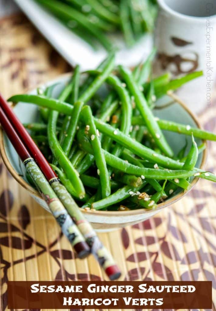 Sesame Ginger Sauteed Haricot Verts | CarriesExperimentalKitchen.com Enjoy a simple, flavorful vegetable side dish with an Asian flair with this quick and easy recipe for Sesame Ginger Sauteed Haricot Verts.