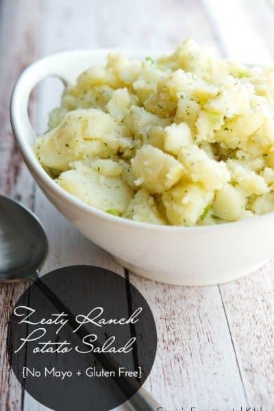 Zesty Ranch Potato Salad | CarriesExperimentalKitchen.com #glutenfree