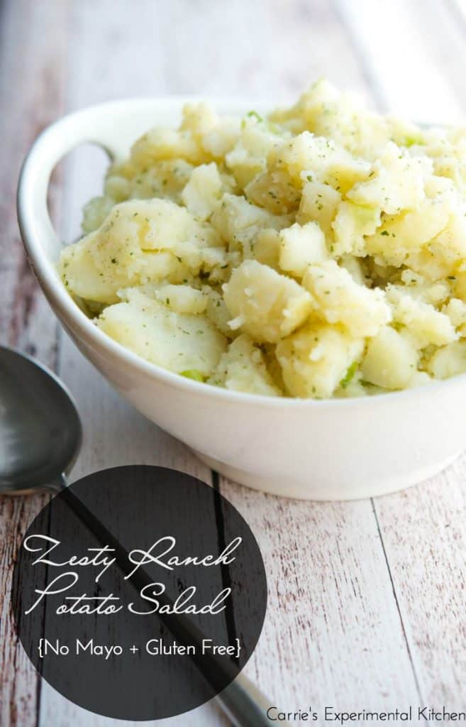 Zesty Ranch Potato Salad made with russet potatoes, scallions, Hidden Valley Ranch Dressing packet, oil and vinegar makes a great addition to any picnic.