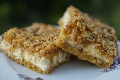 apple pecan cheesecake bars with caramel