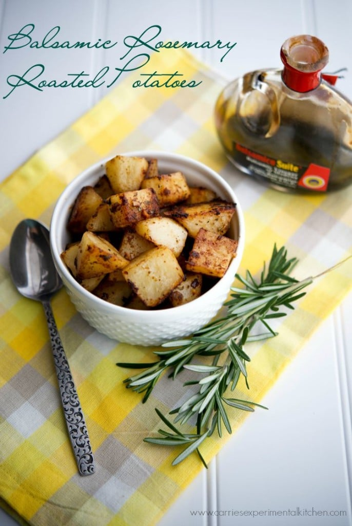 Balsamic Rosemary Roasted Potatoes | CarriesExperimentalKitchen.com These roasted potatoes mixed with fresh rosemary, garlic, balsamic vinegar and extra virgin olive oil make the perfect side dish to any meal.