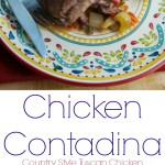 Chicken Contadina {Country Style Tuscan Chicken} | CarriesExperimentalKitchen.com Chicken Contadina is a rustic, country style chicken dish where the chicken is cooked in a sauce of tomatoes, red wine and vegetables.