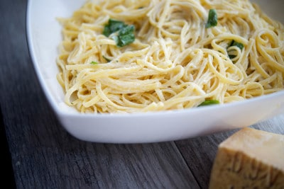 Linguine with Limoncello Asiago Cream Sauce Closeup