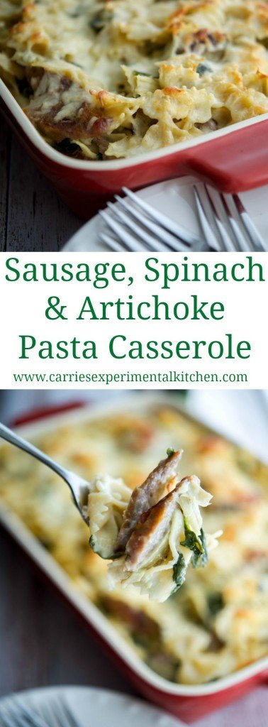 Sausage Spinach Artichoke Pasta Casserole | CarriesExperimentalKitchen.com Italian sausage combined with the classic flavor combination of fresh spinach and artichoke hearts in this delicious Sausage, Spinach & Artichoke Pasta Casserole.