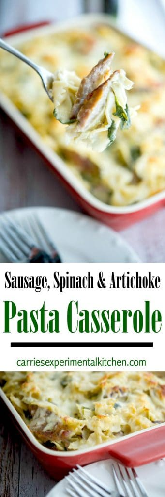 Italian sausage combined with the classic flavor combination of spinach and artichoke hearts in this delicious Sausage, Spinach & Artichoke Pasta Casserole. #casserole #sausage #spinach #artichoke #pasta