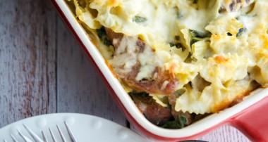 Sausage, Spinach & Artichoke Pasta Casserole