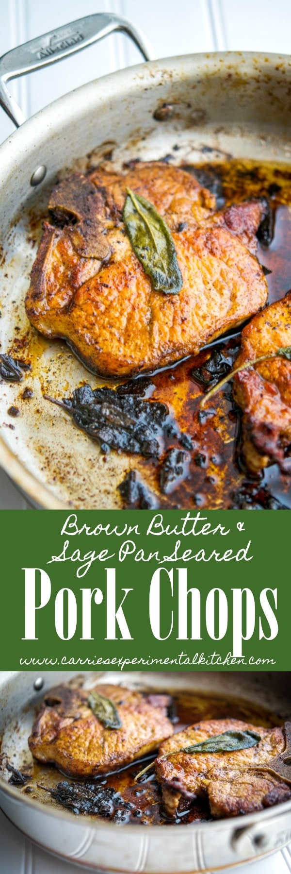 These savory Brown Butter & Sage Pan Seared Pork Chops contain three ingredients and can be ready in 15 minutes for a delicious and easy weeknight meal.