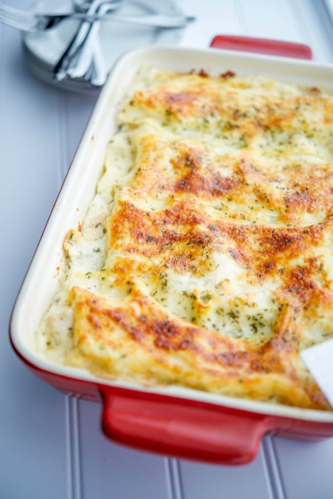 Chicken Francaise Lasagna | CarriesExperimentalKitchen.com Turn a classic restaurant favorite dish into a new favorite casserole with this cheesy, Chicken Francaise Lasagna.