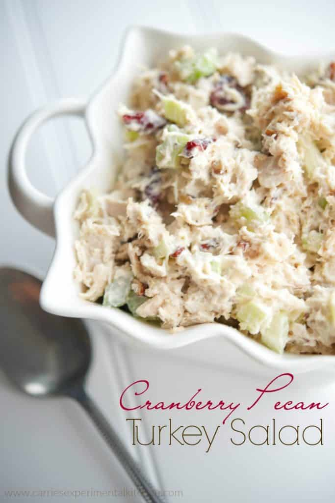 Cranberry Pecan Turkey Salad - Turn your leftover Thanksgiving turkey into a new Fall favorite salad by adding sweet cranberries and savory pecans.