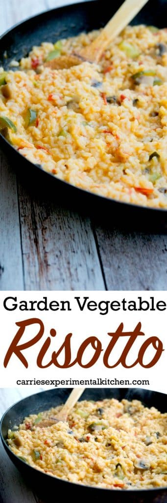 Use your favorite vegetables like tomatoes, zucchini, mushrooms and onions in this delicious Italian side dish for Garden Vegetable Risotto. #risotto #rice #sides #vegetables