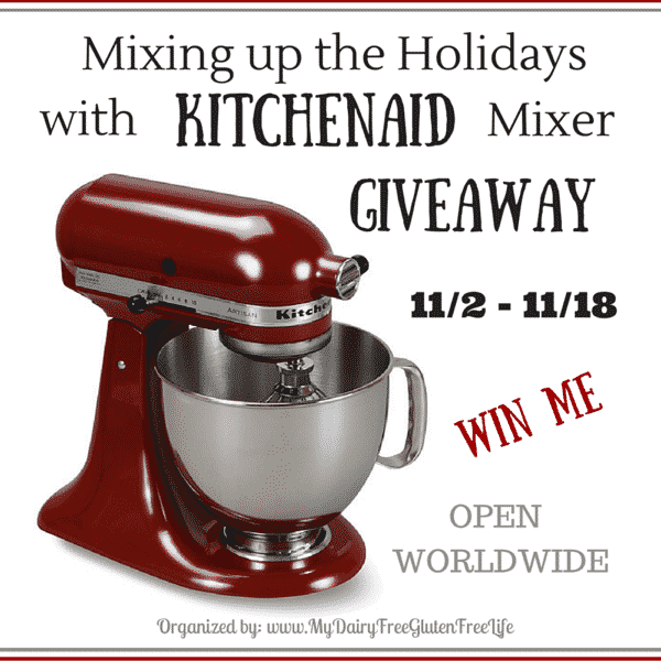 Enter for your chance to win a KitchenAid Stand Mixer just in time for the holidays. Enter between 11/2/15-aa/18/15.