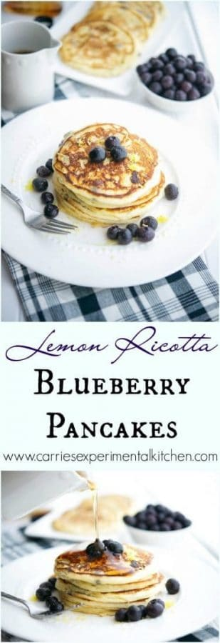 Start you day off right with these healthy, light and fluffy Lemon Ricotta Blueberry Pancakes. They're bursting with flavor! #breakfast #pancakes #lemon #blueberries
