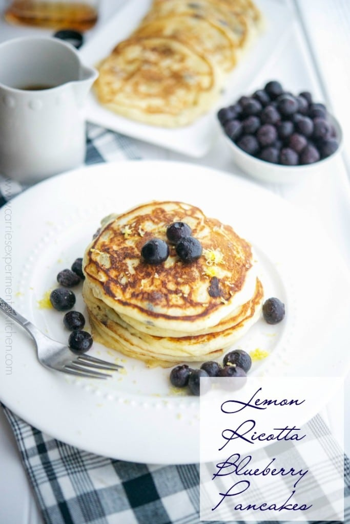 Lemon Ricotta Blueberry Pancakes |CarriesExperimentalKitchen.com Start you day off right with these healthy, light and fluffy pancakes that are bursting with flavor.