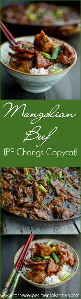Mongolian Beef {PF Changs Copycat} | www.carriesexperimentalkitchen.com Enjoy PF Changs Mongolian Beef in the comfort of your own home with a few simple ingredients.