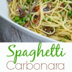Just a few simple ingredients and this tasty recipe for Spaghetti Carbonara made with bacon and peas is ready in 25 minutes!