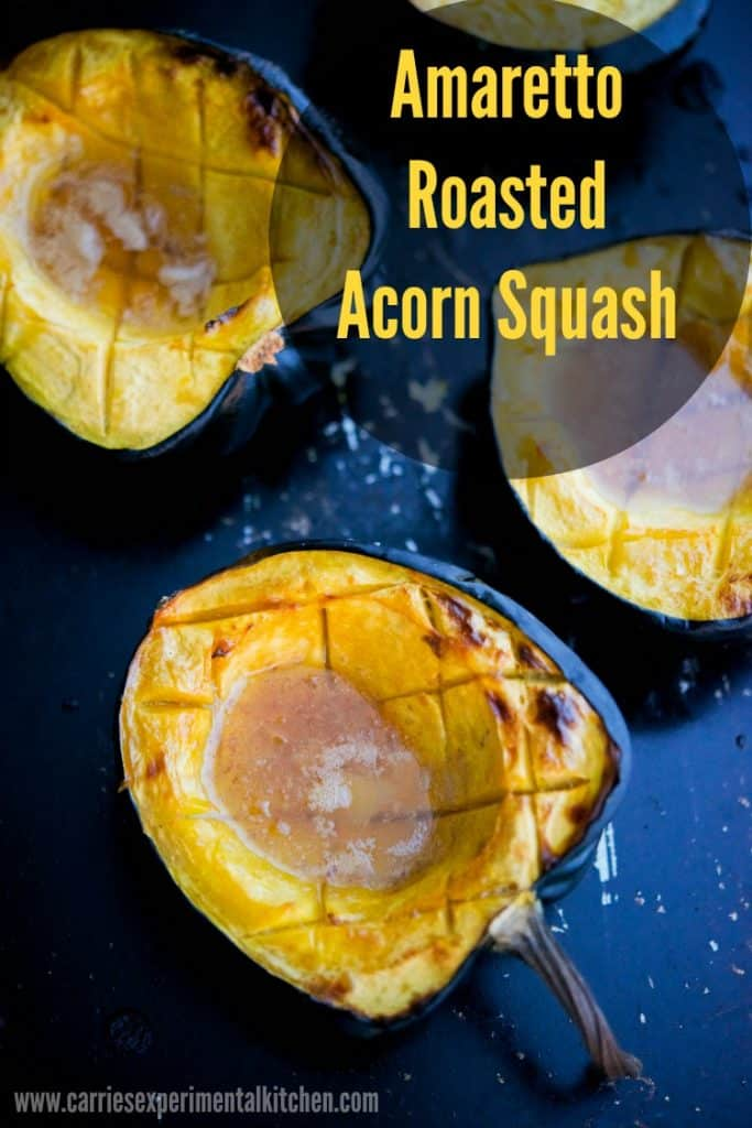 Amaretto Roasted Acorn Squash | This recipe for Amaretto Roasted Acorn Squash with butter and brown sugar has a buttery, almond flavor that makes this the perfect side dish for Thanksgiving.