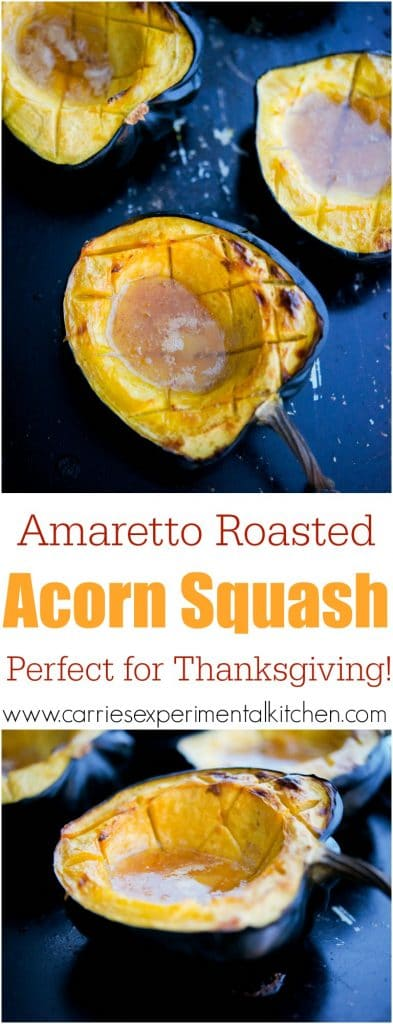 Amaretto Roasted Acorn Squash | This recipe for Amaretto Roasted Acorn Squash with butter & brown sugar has a buttery, almond flavor that makes this the perfect side dish for Thanksgiving.