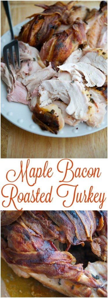 This recipe for Maple Bacon Roasted Turkey is so easy to make, you'll spend less time in the kitchen this Thanksgiving and more time with your guests. #turkey #thanksgiving #maplesyrup #bacon