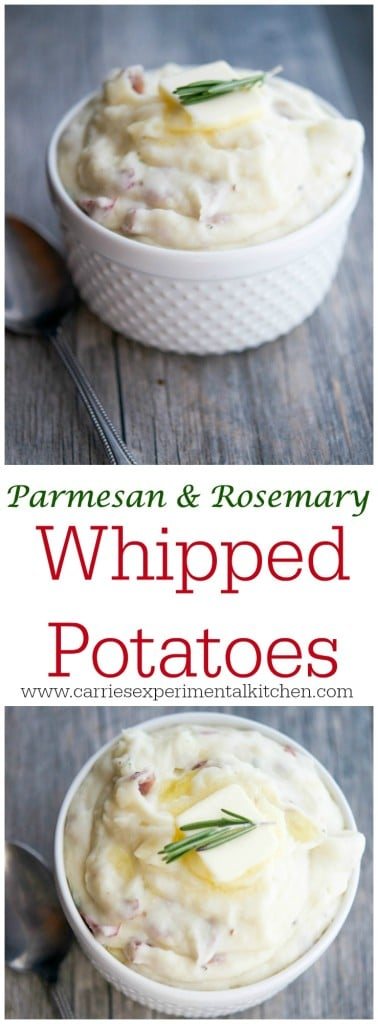 Parmesan & Rosemary Whipped Potatoes | Five ingredients are all you need to make these creamy, Parmesan & Rosemary Whipped Potatoes. Perfect for any day of the week or any holiday gathering.