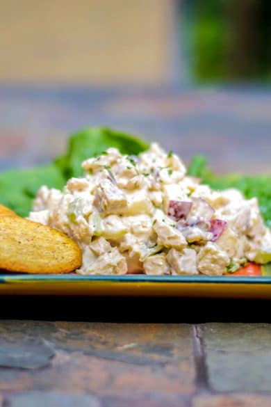 Waldorf Chicken Salad made with boneless chicken breasts, celery, apples and walnuts with a light, honey yogurt dressing.