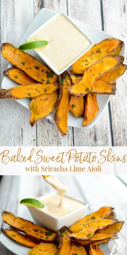 At only 31 calories each, these Baked Sweet Potato Skins with Sriracha Lime Aioli are a healthier option to game day snacking.