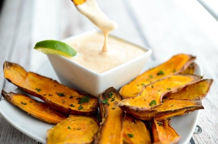 Baked.Sweet Potato Skins with Sriracha Lime Aioli horizontal 2