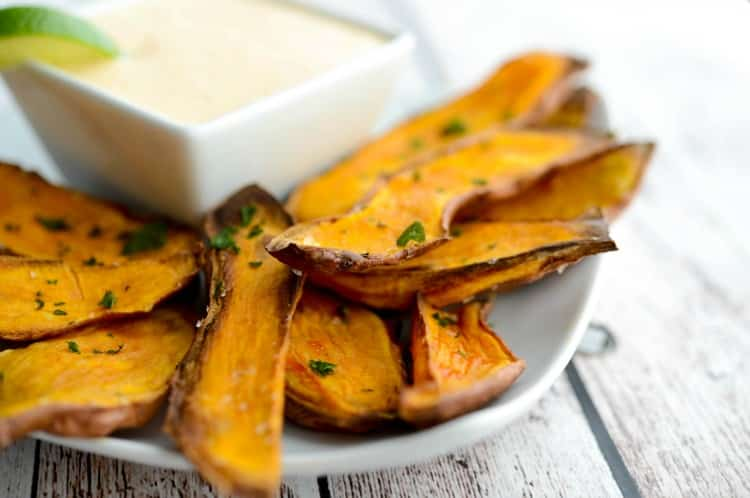 Baked Sweet Potato Skins with Sriracha Lime Aioli