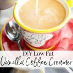 Learn how to make your own low fat vanilla coffee creamer at home with three simple ingredients. You'll never go without that morning coffee again!