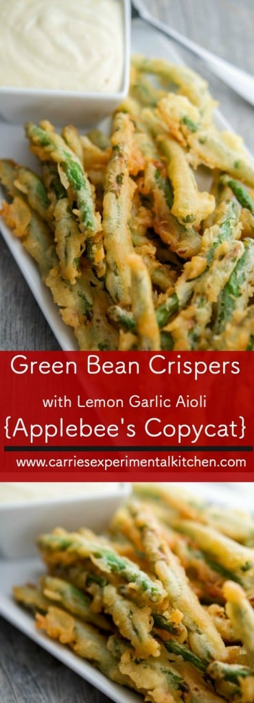 Applebee's may have taken these Green Bean Crispers with Lemon Garlic Aioli off of their menu, but you can still enjoy them at home!